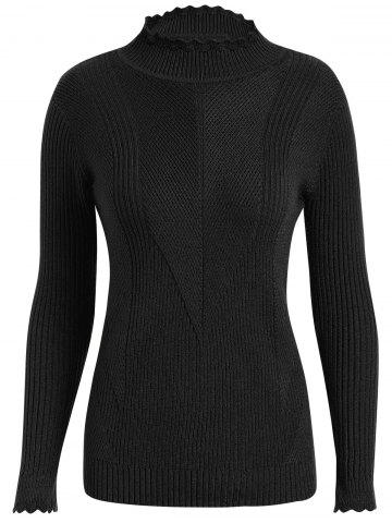 Discount Plus Size Ribbed High Neck Sweater - 3XL BLACK Mobile