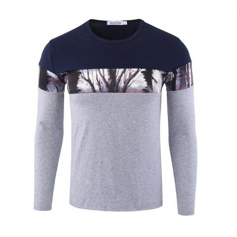Latest Forest Print Color Block Long Sleeve Tee - 3XL GRAY Mobile