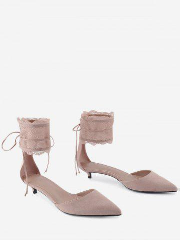 Discount Ankle Strap Two Pieces Pointed Toe Sandals SHALLOW PINK 34