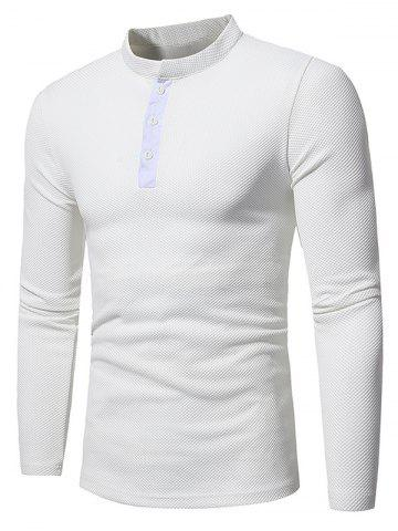 Discount Long Sleeve Embossing Henley T-Shirt WHITE L