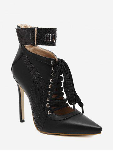 Stiletto Stitching Pointed Toe Ankle Boots Noir 35