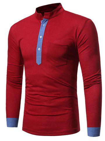 Hot Color Block Panel Long Sleeve T-shirt WINE RED M