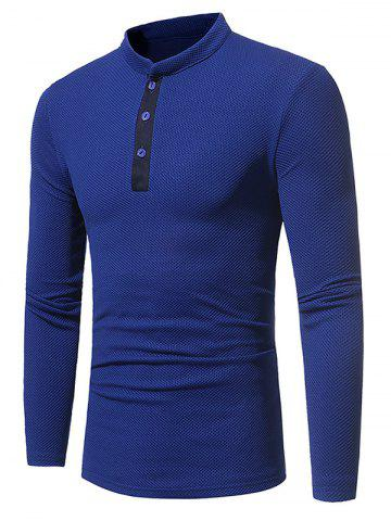Chic Long Sleeve Embossing Henley T-Shirt - 3XL BLUE Mobile