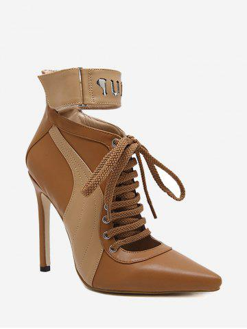 Stiletto Stitching Pointed Toe Ankle Boots Brun 39