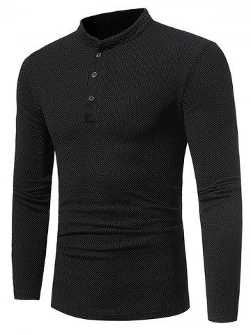 Sale Long Sleeve Embossing Henley T-Shirt BLACK 3XL