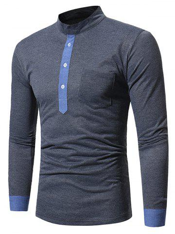 Best Color Block Panel Long Sleeve T-shirt - 3XL DEEP GRAY Mobile