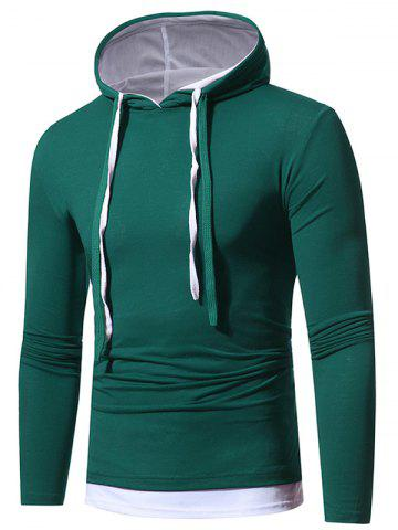 New Faux Twinset Hooded Drawstring T-shirt GREEN M