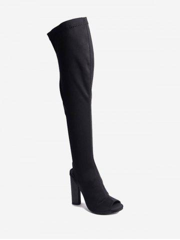 Online Chunky Slingback Peep Toe Thigh High Boots BLACK 35
