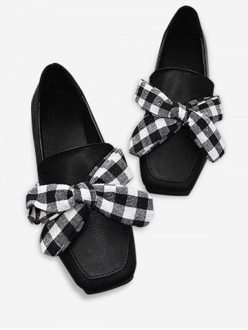 Affordable Slip On Square Toe Bowknot Flat Shoes - 36 BLACK Mobile