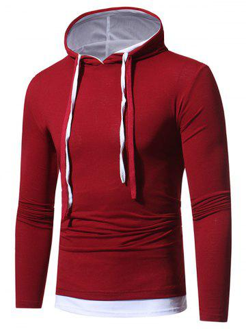 Chic Faux Twinset Hooded Drawstring T-shirt - 3XL WINE RED Mobile