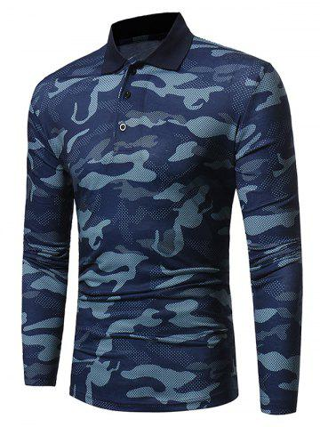 Outfits Camouflage Polo Collar Long Sleeve T-shirt BLUE M