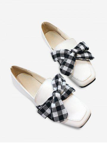 Buy Slip On Square Toe Bowknot Flat Shoes WHITE 39