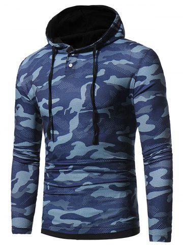 Fashion Camouflage Hooded Long Sleeve T-shirt BLUE M