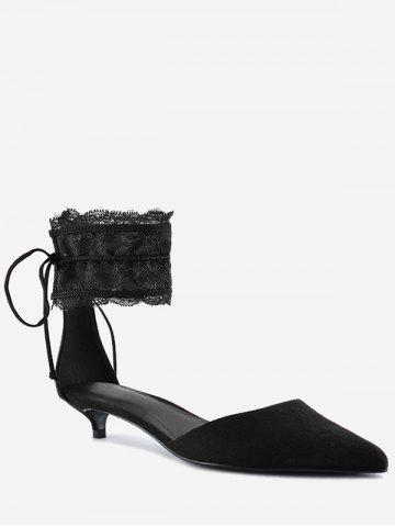 Discount Ankle Strap Two Pieces Pointed Toe Sandals BLACK 39