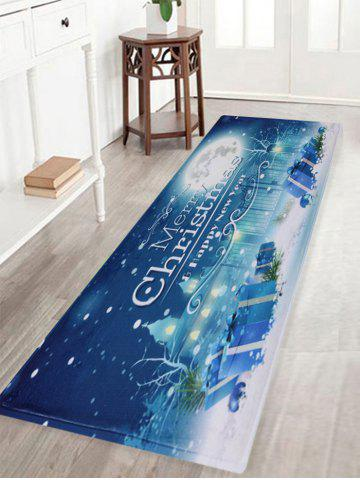New Christmas Night Pattern Anti-skid Water Absorption Area Rug BLUE W16 INCH * L47 INCH