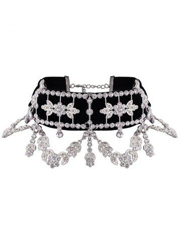 Chic Rhinestone Alloy Flower Leaf Choker Necklace SILVER