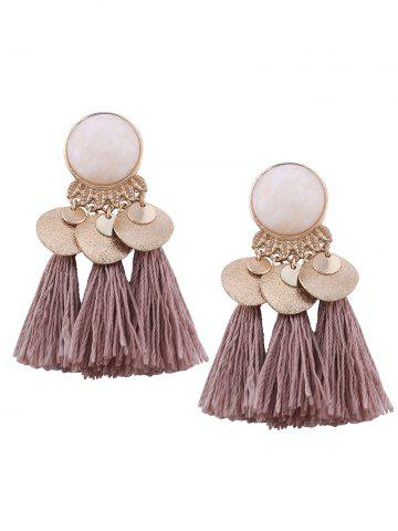 Online Faux Gemstone Alloy Leaf Disc Tassel Earrings - COFFEE  Mobile