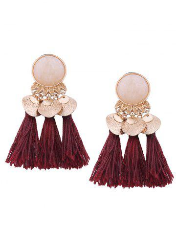 Outfits Faux Gemstone Alloy Leaf Disc Tassel Earrings WINE RED
