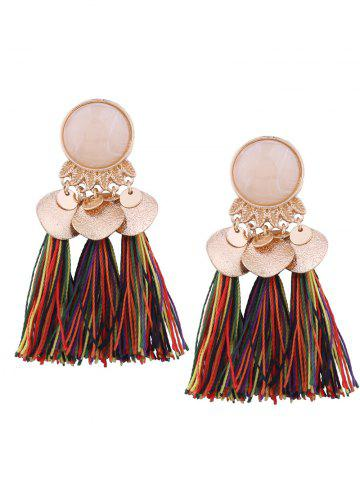 Sale Faux Gemstone Alloy Leaf Disc Tassel Earrings