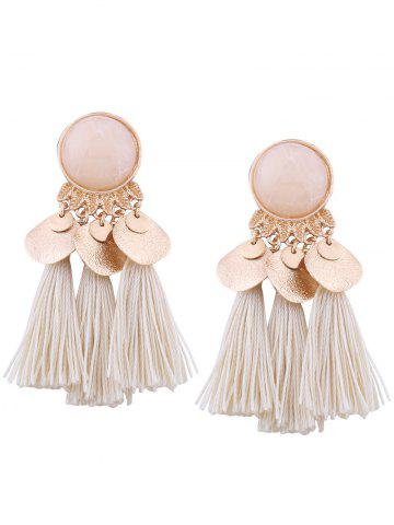 Fashion Faux Gemstone Alloy Leaf Disc Tassel Earrings
