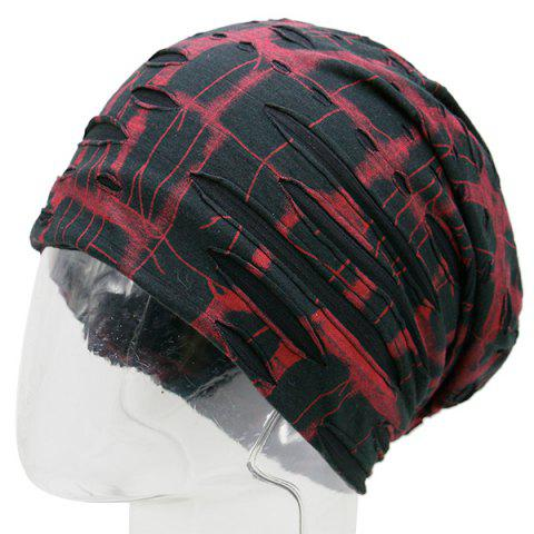 New Plaid Stripe Print Ripped Knit Beanie RED