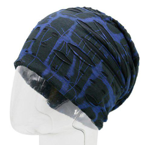 Plaid Stripe Print Ripped Knit Beanie Bleu