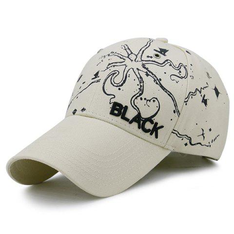 Unique Black Embroidery Handpainted Print Baseball Hat - WHITE  Mobile