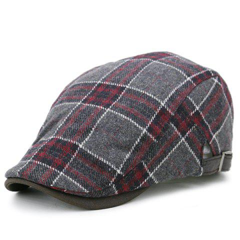 Fashion Tartan Pattern Faux Woolen Cabbie Hat