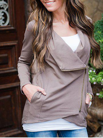 Cheap Asymmetric Draped Jacket LIGHT COFFEE S