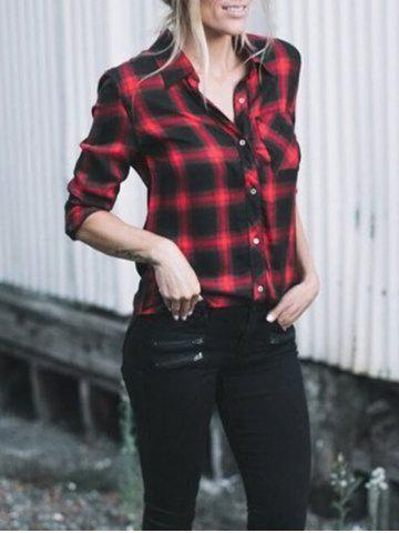 Online Casual Checked Button Up Shirt RED S