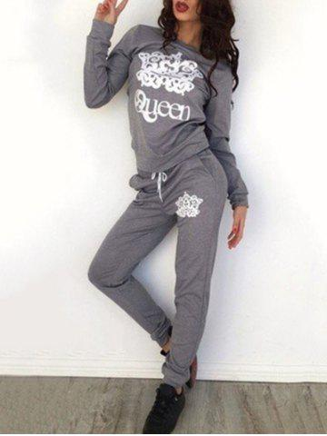 Fashion Queen Print Sweatshirt with Pants - S GRAY Mobile