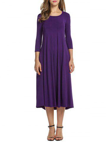 Fancy Casual A Line Midi Day Dress - S PURPLE Mobile