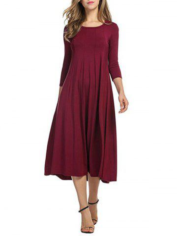 Hot Casual A Line Midi Day Dress WINE RED 2XL