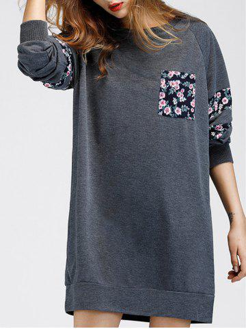 Chic Floral Print Shift Casual Sweatshirt Dress GRAY S