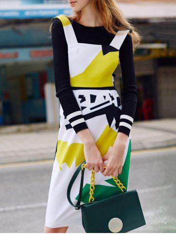 Best Color Block Sheath Fitted Pinafore Dress COLORMIX S