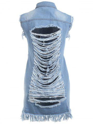 Trendy Frayed Distressed Tunic Denim Vest - 2XL CLOUDY Mobile