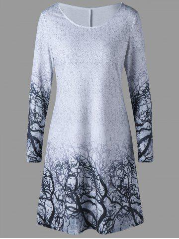 Fancy Graphic Marled Tee Dress - M GRAY Mobile