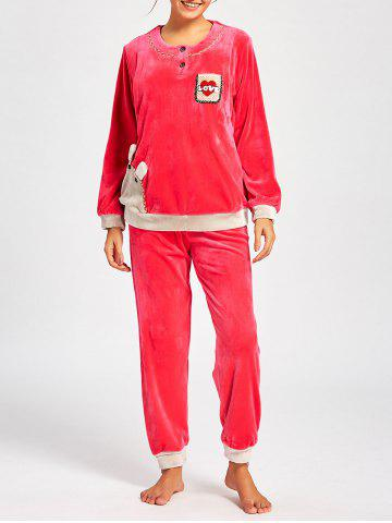 Cheap Fleece Long Sleeve Nursing PJ Set - L WATER RED Mobile
