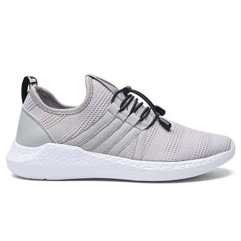 New Mesh Stripes Athletic Shoes GRAY 42