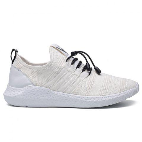 Hot Mesh Stripes Athletic Shoes - 39 WHITE Mobile