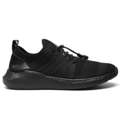 Latest Mesh Stripes Athletic Shoes - 42 BLACK Mobile