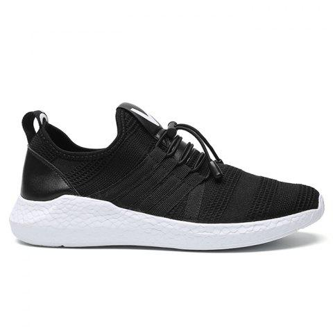 Trendy Mesh Stripes Athletic Shoes - 43 BLACK WHITE Mobile