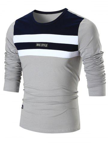 Fancy Color Block Crew Neck T-shirt - L GRAY Mobile