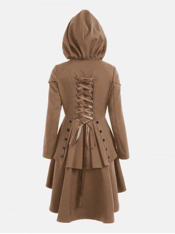 Discount Lace Up Layered High Low Hooded Coat - KHAKI L Mobile