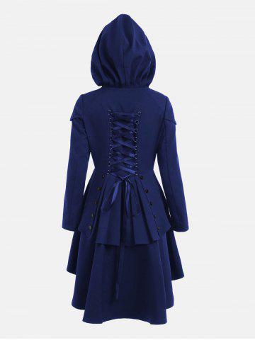 Fashion Lace Up Layered High Low Hooded Coat ROYAL 2XL