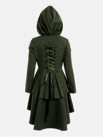 Unique Lace Up Layered High Low Hooded Coat - ARMY GREEN S Mobile