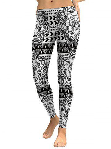 Skinny Digital Floral Leggings Blanc et Noir L