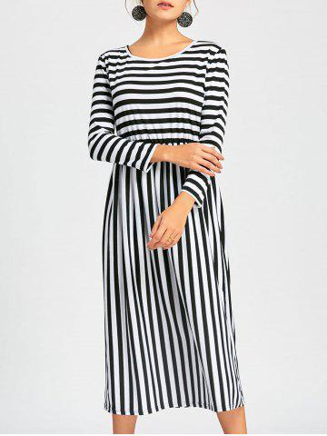 Online Tea Length Striped Casual Dress - M BLACK Mobile