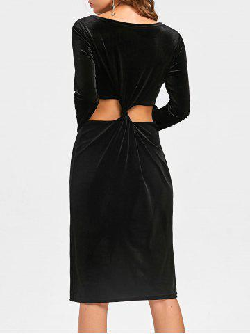 Sale Long Sleeve Velvet Back Knot Cut Out Dress