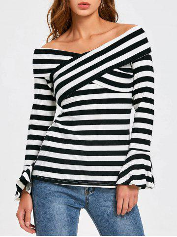 New Front Cross Flare Sleeve Striped Top - M STRIPE Mobile
